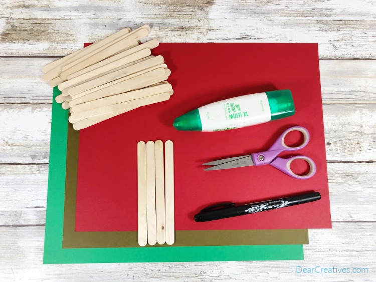 Craft supplies and craft materials for making a craft stick apple craft - DearCreatives.com