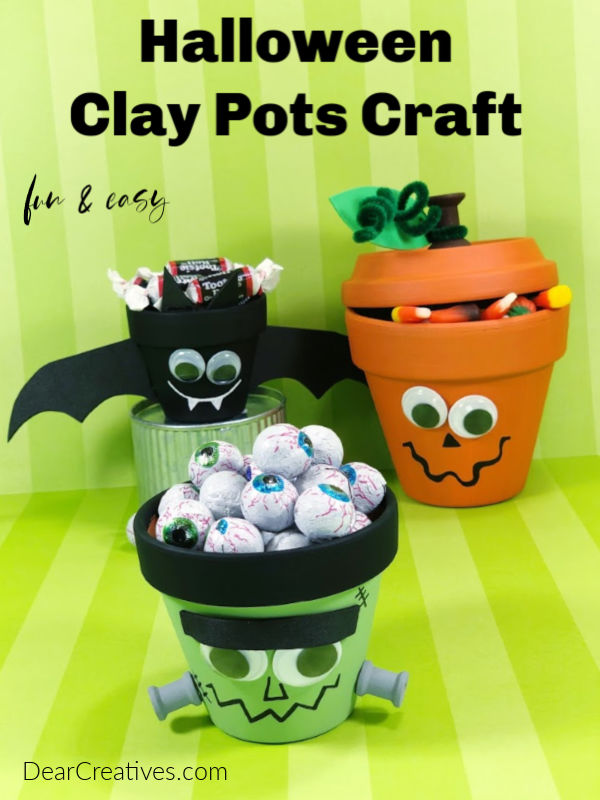 Halloween Clay Pots DIY Bat Craft - Frankenstein Craft - Jack O Lantern. This is a fun and easy Halloween Craft that can be made by adults or used as a Halloween craft for kids. DearCreatives.com