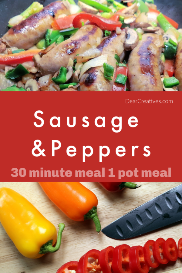 Sausage and Peppers are always a hit in our home. This is a winning dinner idea. Why? Because you can cook this quickly for days you are busy. Plus, you can serve it so many different ways.