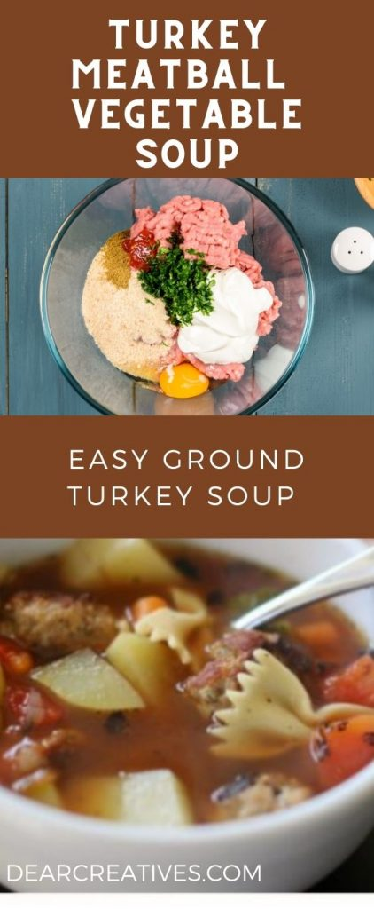Turkey Meatball vegetable soup. This is an easy ground turkey soup to make. Kid-friendly, hearty, and healthy! #turkeymeatballsoup #turkeymeatballvegetablesoup #easygroundturkeysoup #easy #homemadesouprecipe