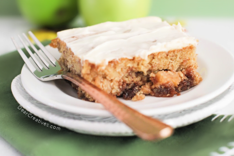 Apple Cinnamon Cake - Easy to make, moist and delicious. A must-make apple cake recipe that has all the flavors of a cinnamon roll, plus apples. DearCreatives.com