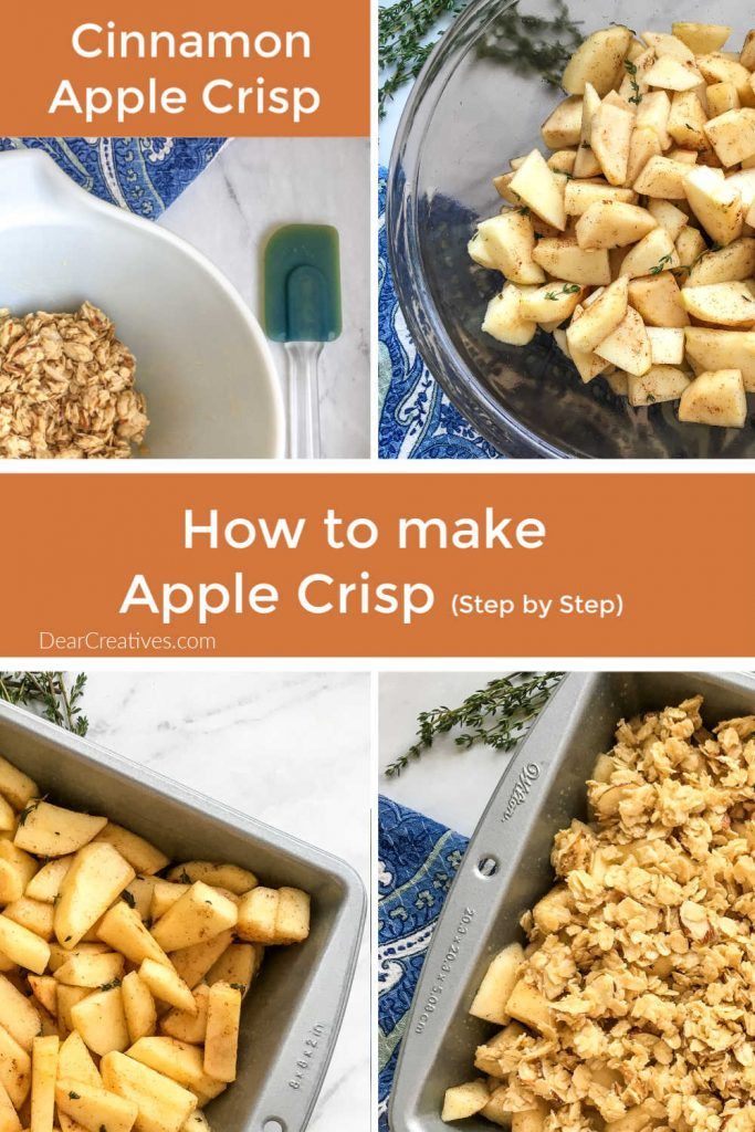 Cinnamon Apple Crisp - step by step images with apple crisp recipe. DearCreatives.com