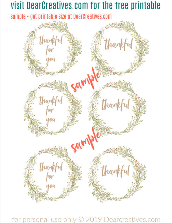 Fall Wreath Design Free Thankful Printables for mason jars. Circle Template 2.5 inch fits several sizes jars- - DearCreatives.com copy