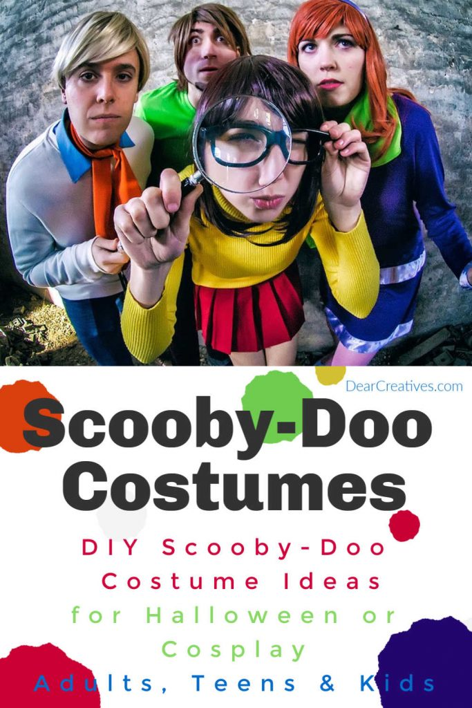 Scooby Doo Costumes - Whether you are looking for Halloween costume ideas, last-minute Halloween Costumes you will love how easy it is to make the Scooby Doo characters for costumes. We share resources for DIY Scooby Doo Characters, Velma, Daphne, Shaggy...DearCreatives.com