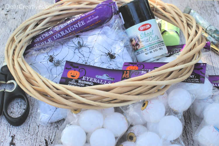 Supplies for an Eyeball Wreath DIY - how-to and instructions at ©DearCreatives.com