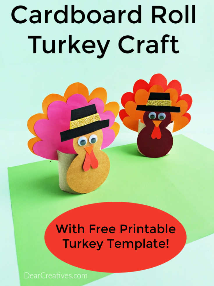 Toilet Paper Roll Turkey Craft - this is a fun and easy turkey craft for kids. Print the turkey template and follow the step by step instructions. DearCreatives.com