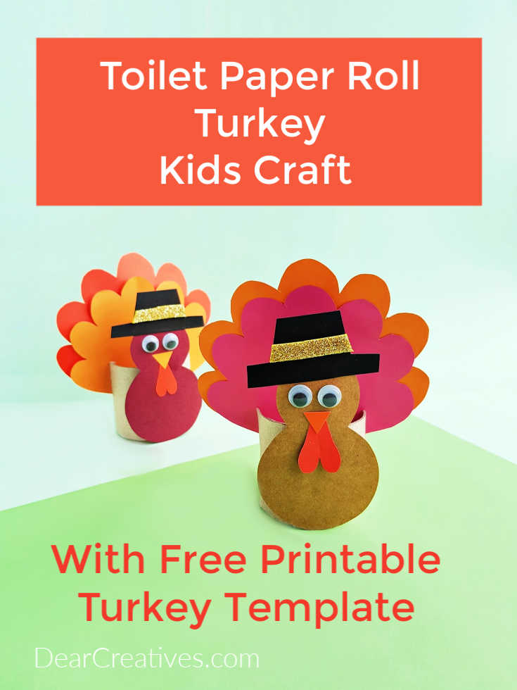 Toilet Paper Roll Turkey Kids Craft + Free Printable Turkey Template. Grab the instructions and see how easy it is to make this craft with your kids or preschool kids. DearCreatives.com