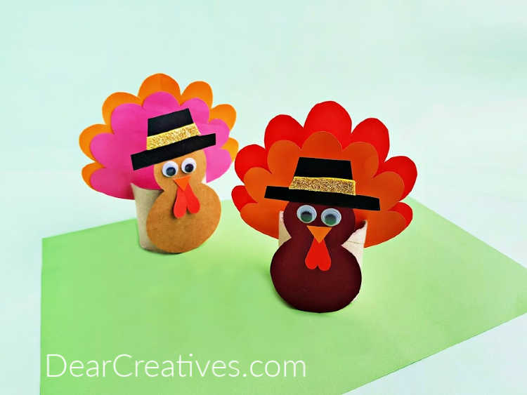Turkey Crafts For Kids - Toilet Paper Roll Turkey Craft -This comes with a free turkey template and step by step instructions. DearCreatives.com