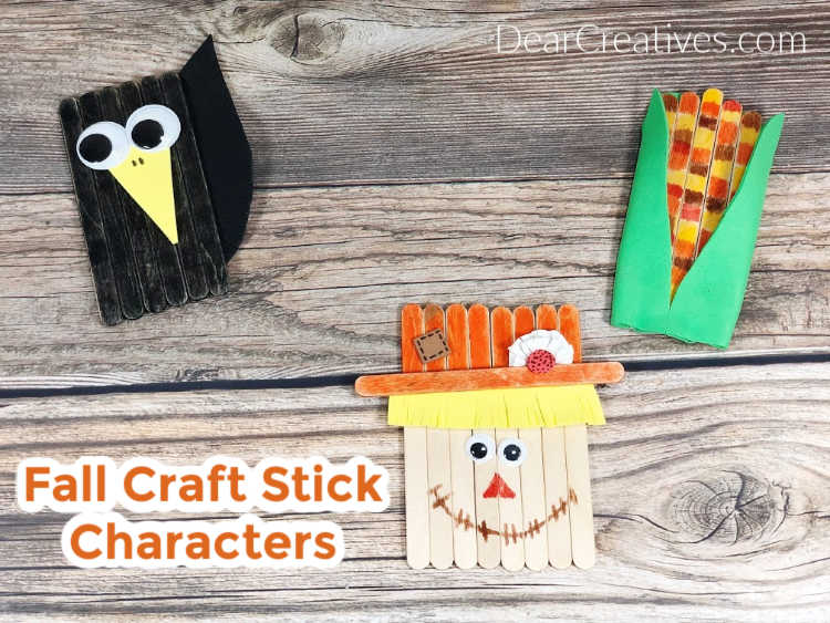 Fall Craft Stick Characters Scarecrow, Crow, Harvest Corn