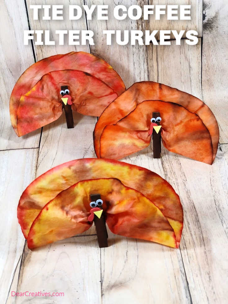 Tie Dye Coffee Filter Turkey Craft - Fun and easy fall craft to make with the kids. DearCreatives.com