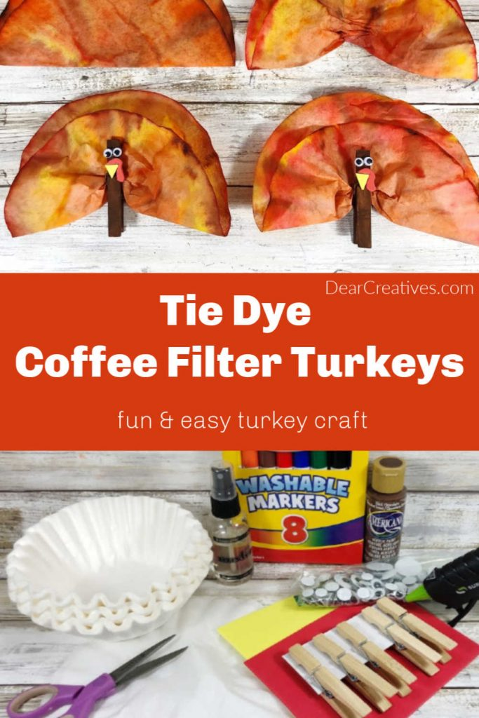 Tie Dye Turkey Coffee Filter Craft - Make this fun and easy turkey craft for kids. Start with markers, coffee filters and clothespins as a Thanksgiving craft for kids. DearCreatives.com
