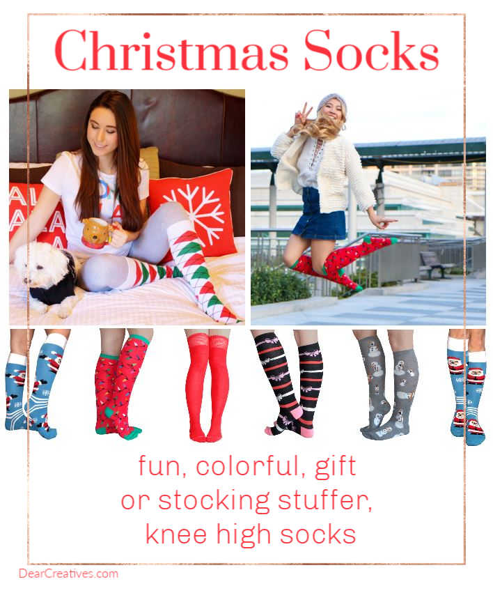 Christmas Socks For Women - Perfect for Christmas gifts for her under $15 to $10 - Christmas Socks - Find these Christmas gift ideas and more at DearCreatives.com