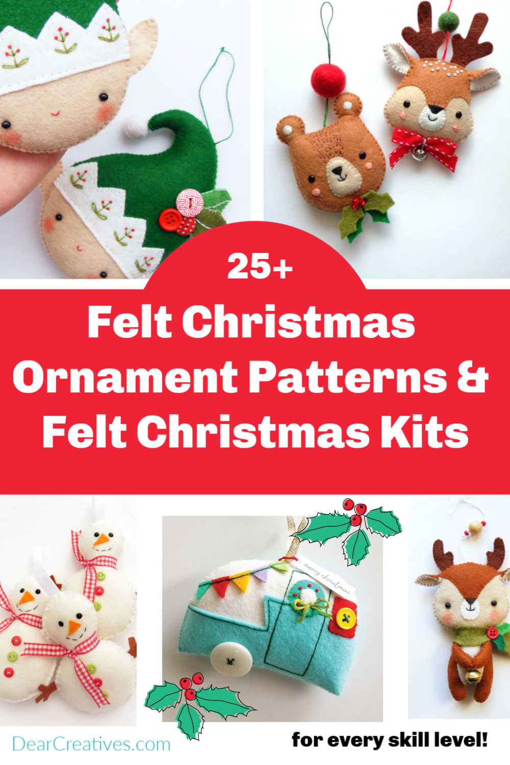 Felt Christmas Ornament Patterns And Kits For All Skill Levels