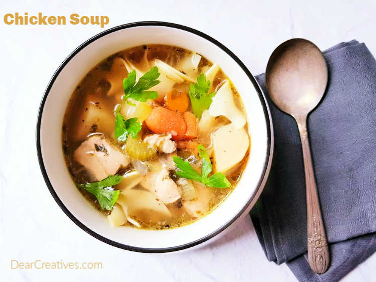 Instant Pot Chicken Noodle Soup The perfect soup for a cold day or to feel better when sick!- DearCreatives.com