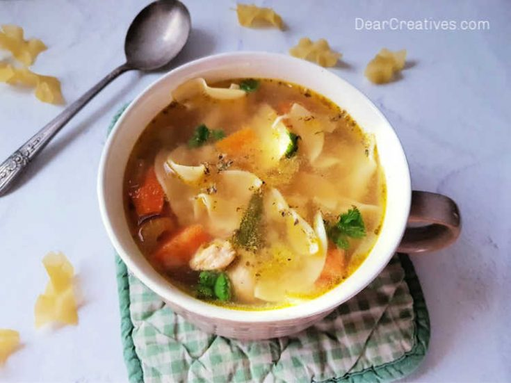 Lemon chicken soup! You will love how easy this is to cook and how delicious this chicken soup is! DearCreatives.com