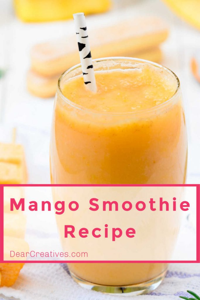 Mango Smoothie Recipe, it's so easy to make. They are packed with healthy ingredients, you can make them any time of year with fresh ingredients and frozen ingredients. DearCreatives.com