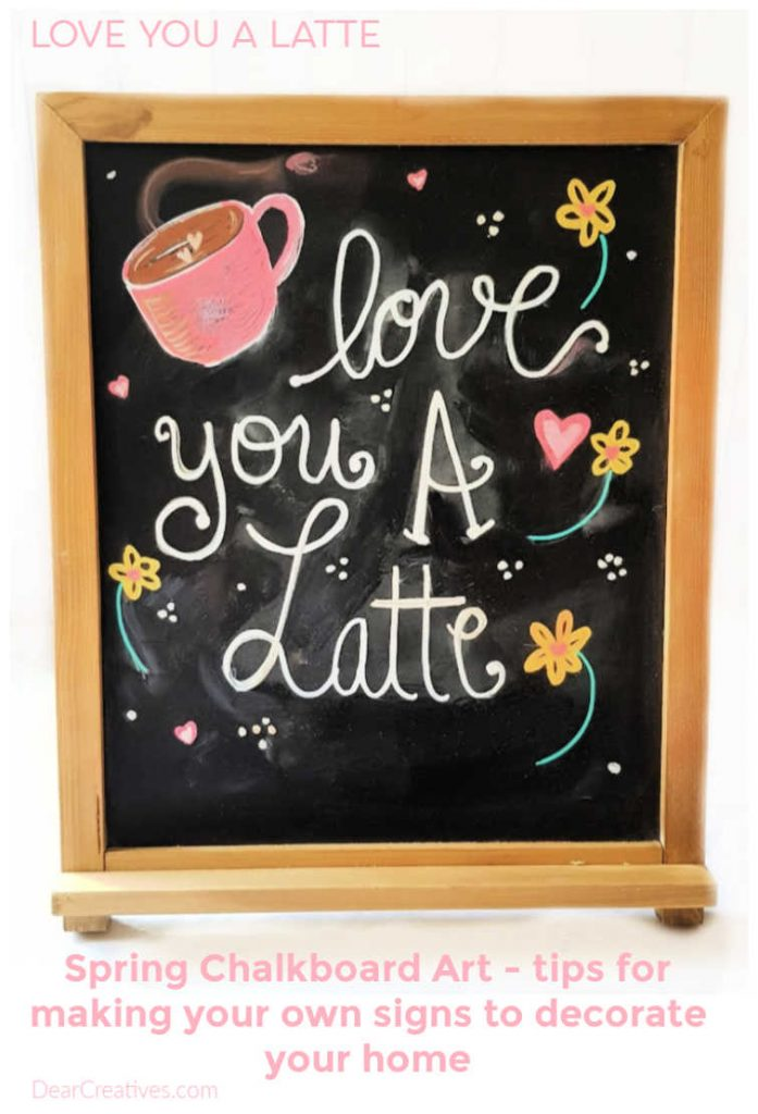 Valentine's Day Chalkboard Art -Are you ready to make a chalkboard sign for Valentine's Day or spring_ Grab tips and make your own chalkboard art and chalkboard sign. DearCreatives.com