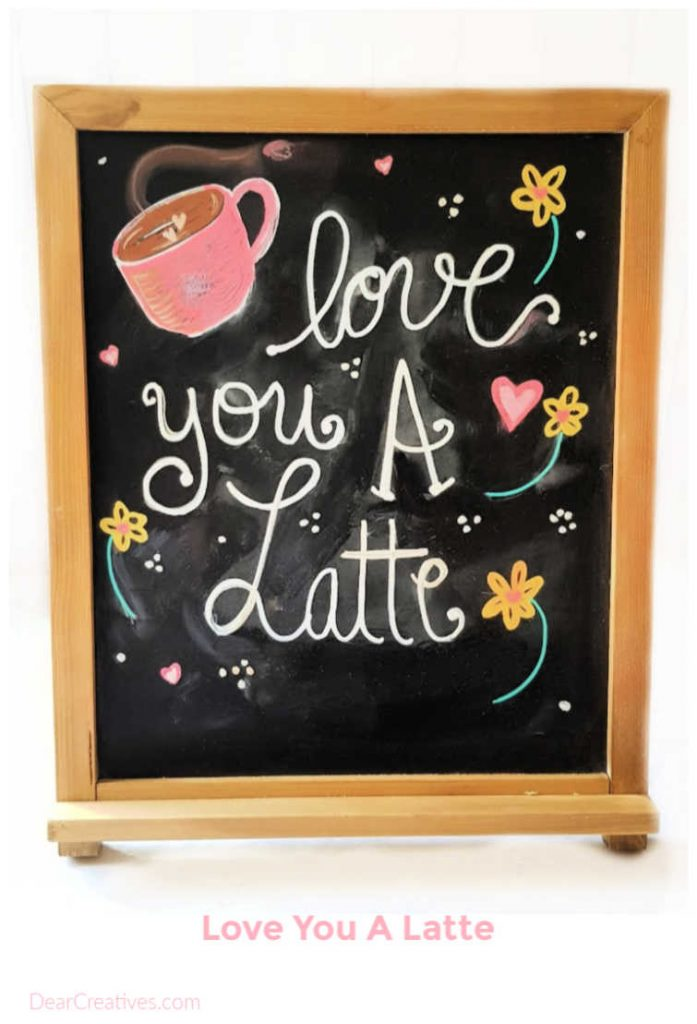 Valentine's Day Chalkboard Art plus tips to make your own chalkboard art. Find this Valentine's Day craft and more chalkboard ideas at DearCreatives.com