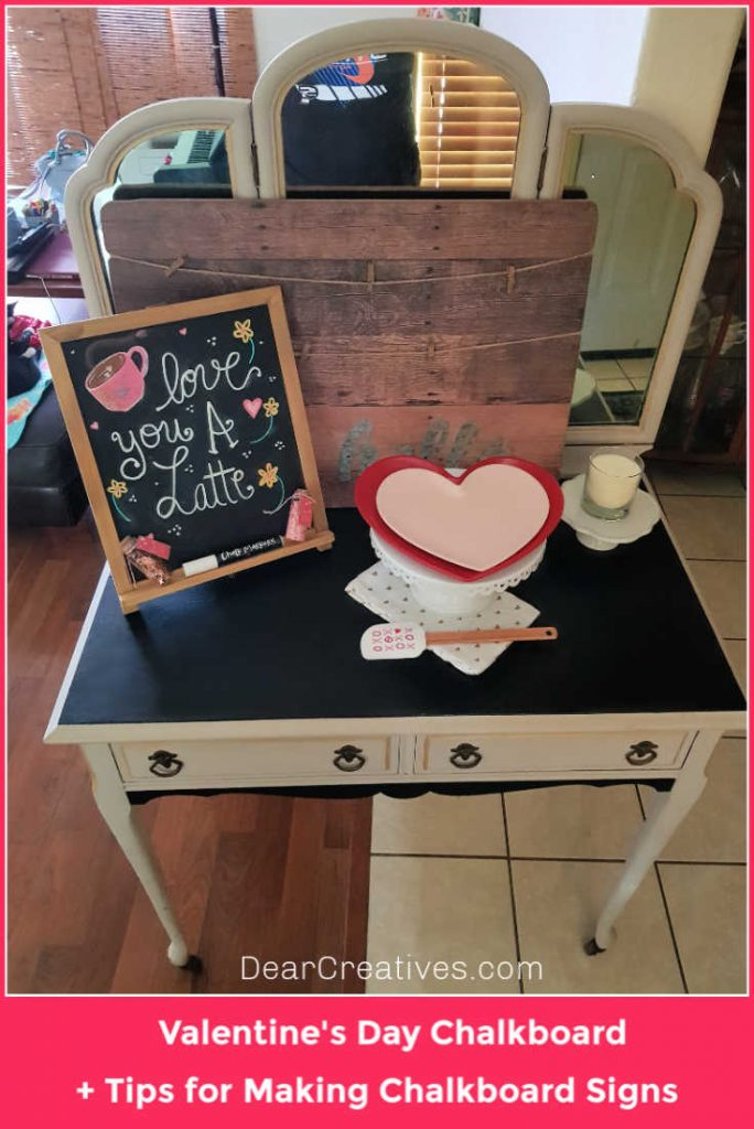 Valentine's Day chalkboard art and decorations. See how to make your own chalkboard art and chalkboard signs, grab tips...at DearCreatives.com