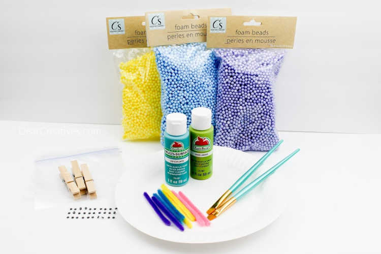 Craft supplies for a kids craft project - instructions at DearCreatives.com