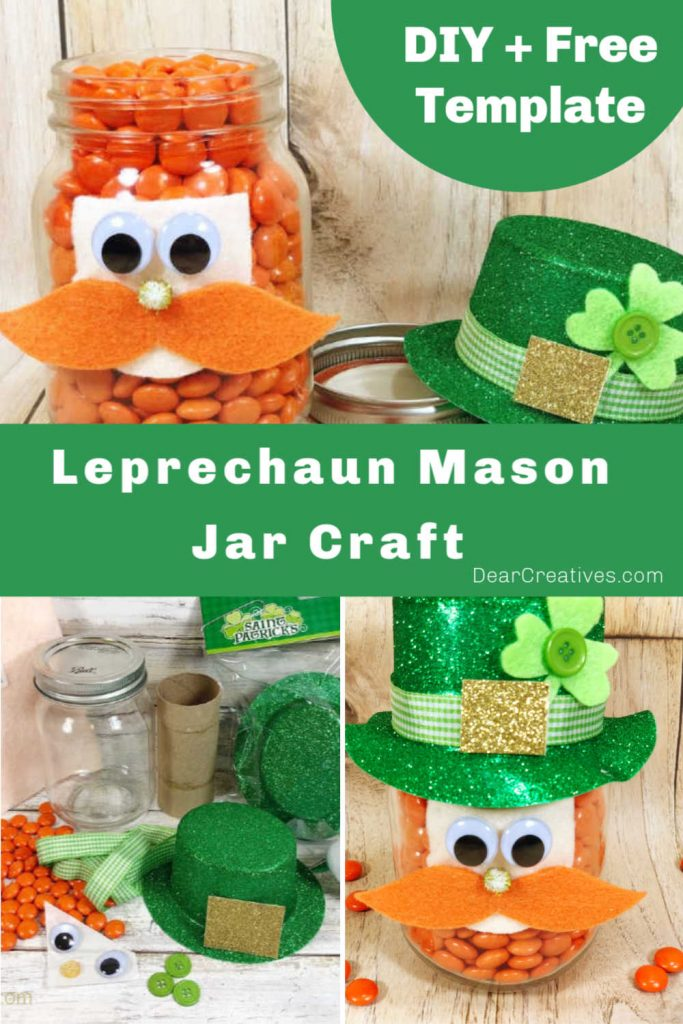 Leprechaun Mason Jar Craft - This is a fun and easy craft that can be made by anyone, even kids. Grab the printable template with DIY instructions for this St. Patrick's Day craft - DearCreatives.com