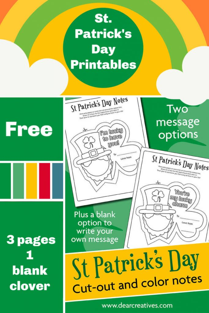 St. Patrick's Day Coloring Page - Printables - Leprechaun coloring pages - 3 different options with leprechauns and clovers. Two have messages and one is blank to fill out. Grab the free printables at DearCreatives.com