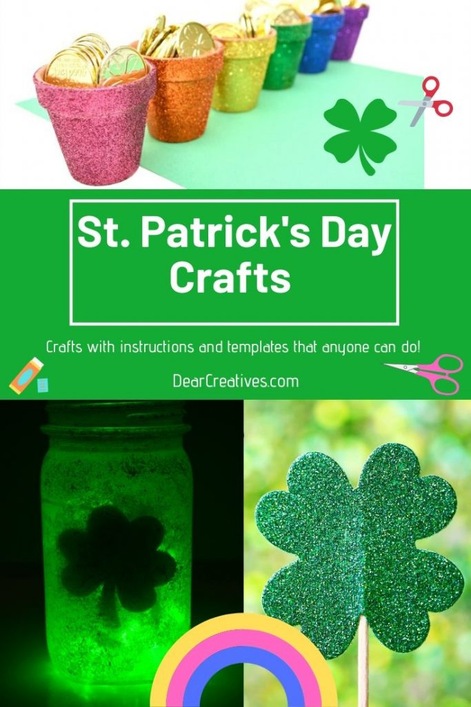 St. Patrick's Day Crafts - crafts with instructions and templates. Crafts for St. Patrick's Day for adults, teens and kids. DearCreatives.com #stpatricksdaycrafts #crafts