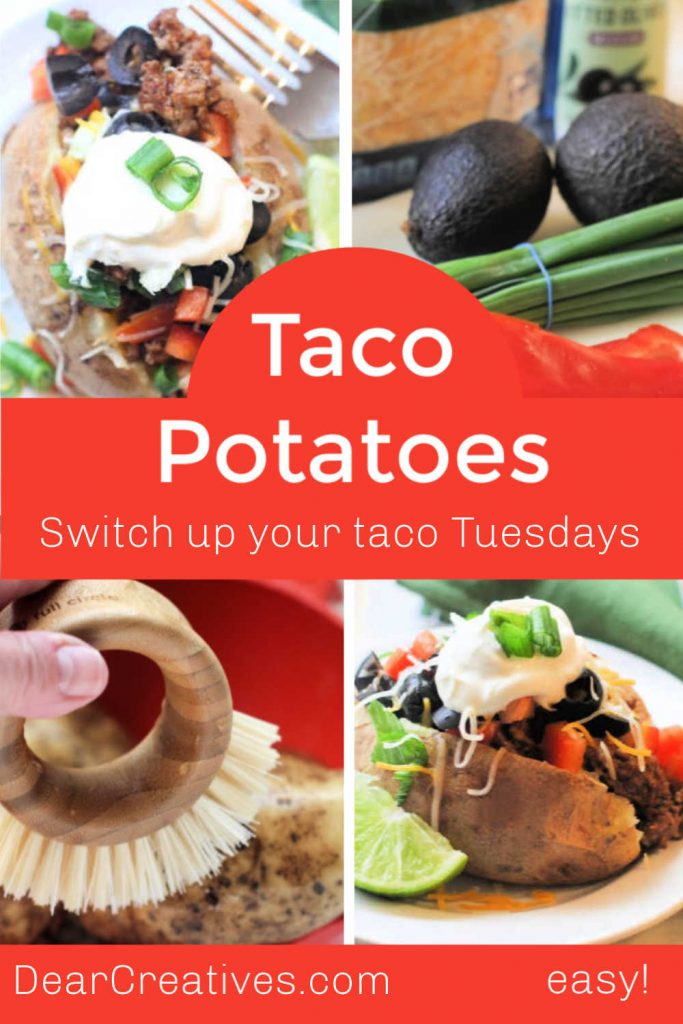 Switch up Your Taco Tuesday With Taco Potatoes - Are so easy to make! Make the taco meat from scratch Or use a seasoning packet Either way you will have dinner made in 30-minutes or 1 hour. DearCreatives.com