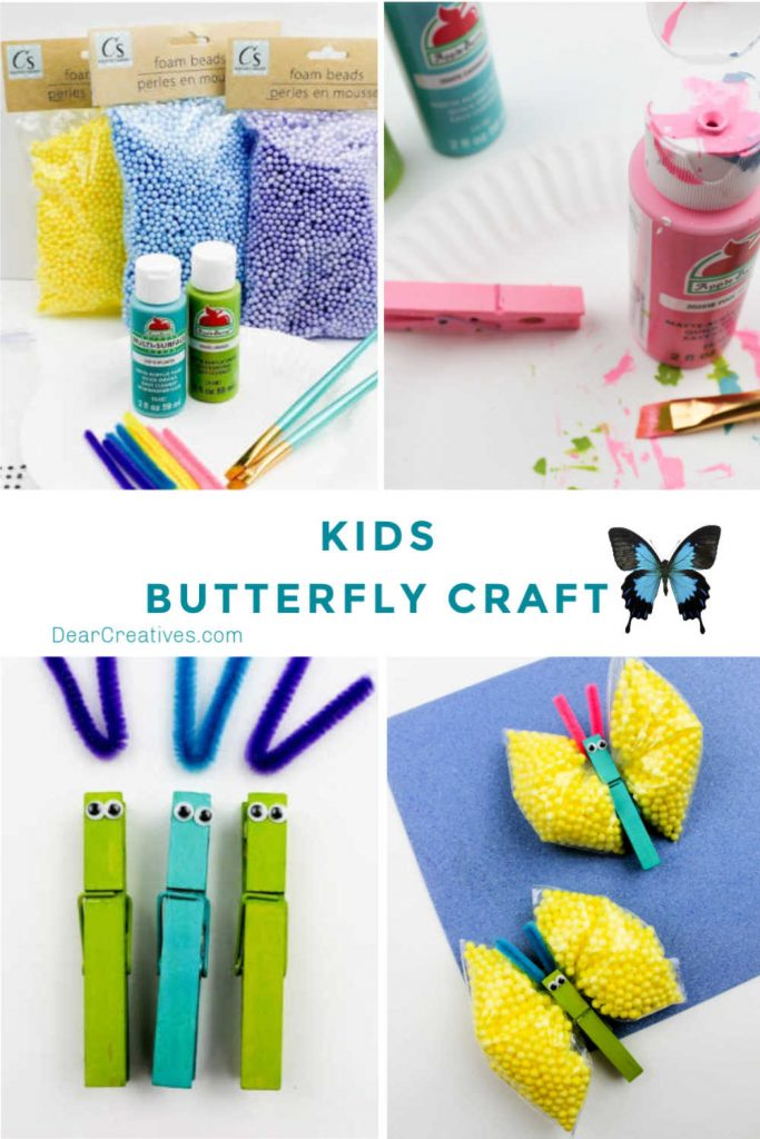 Are you looking for a craft to do with your kids_ Make this Kids Butterfly Craft - This is a fun kids crafts to make, it's an easy craft for kids#butterflycraft #craftforkids #kidsbutterflycraft #kidscrafts #fun #easy - DearCreatives.com