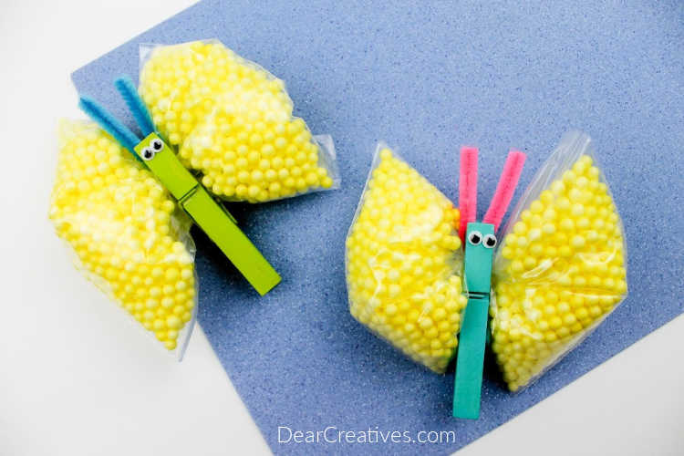 finished butterfly craft - foam bead craft for kids - how to at DearCreatives.com