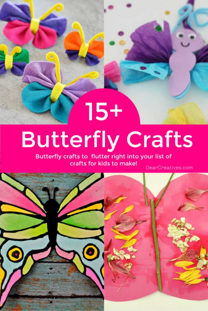 15+ Beautiful Butterfly Crafts To Brighten Your Day! Find butterfly crafts for kids, preschoolers and kids at heart to make. Fun and easy! DearCreatives.com
