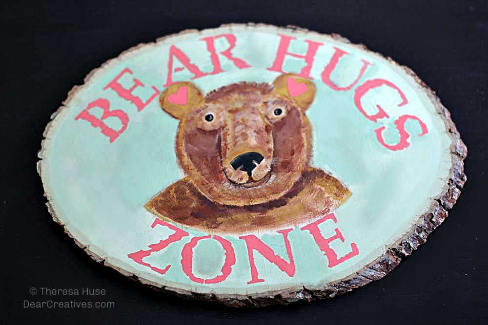 DIY Wood Bear Sign - Finished-Bear-Hugs-Zone-Stenciled-Plaque - Step by Step How-to DearCreatives.com
