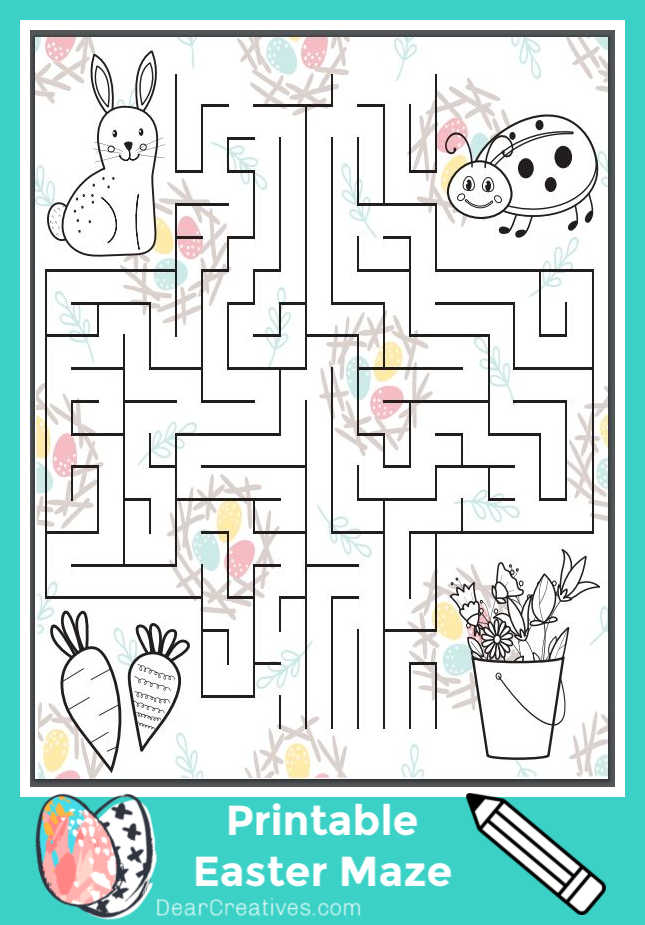 Easter-Maze-This is a Free Easter Printable that has a maze and characters for Easter coloring. This is can be a fun kids Easter activity or activity for spring on a rainy day... Grab the free printable for Easter at DearCreatives.com