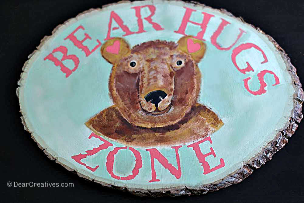 Finished-DIY Wood Bear Sign - Tutorial for how to paint a bear and stencil. Find this and other beginner acrylic painting techniques at DearCreatives.com