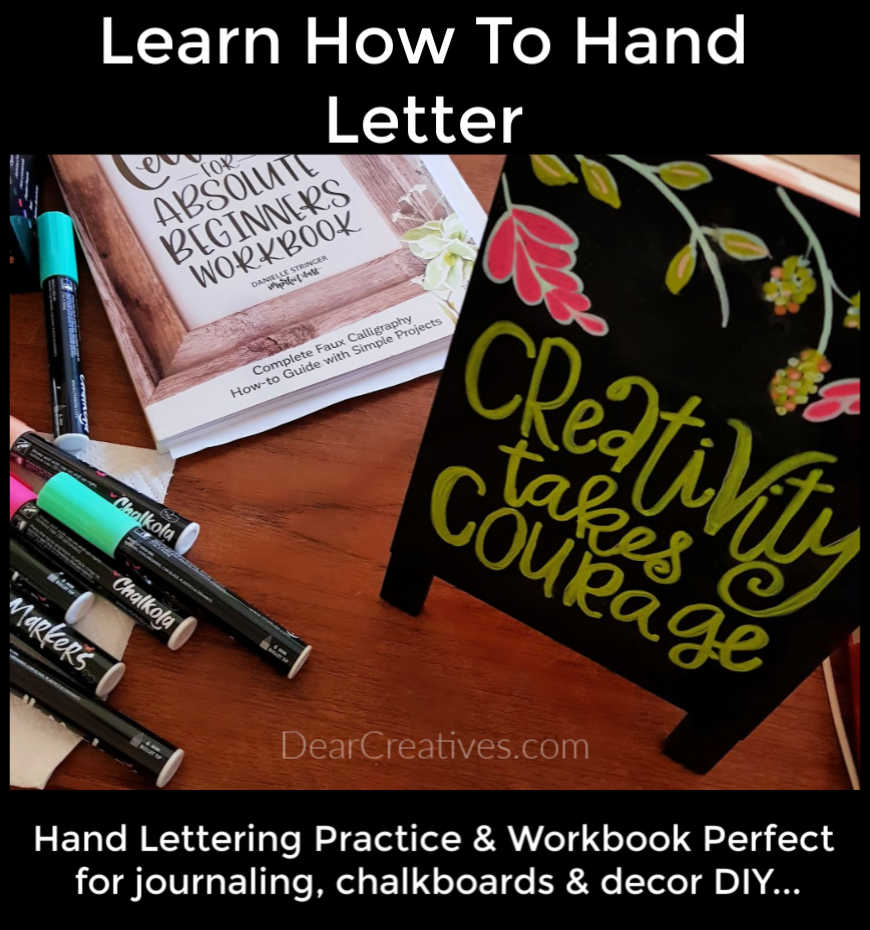 Lettering For Absolute Beginners Workbook - Craft Book Review and Overview. If you are interested in learning lettering or faux calligraphy I think you will love this! DearCreatives.com