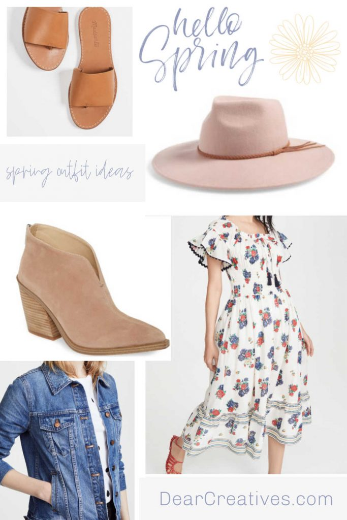 Spring Outfit Ideas - Spring dress, wool hat, sandals, booties, denim jacket - DearCreatives.com