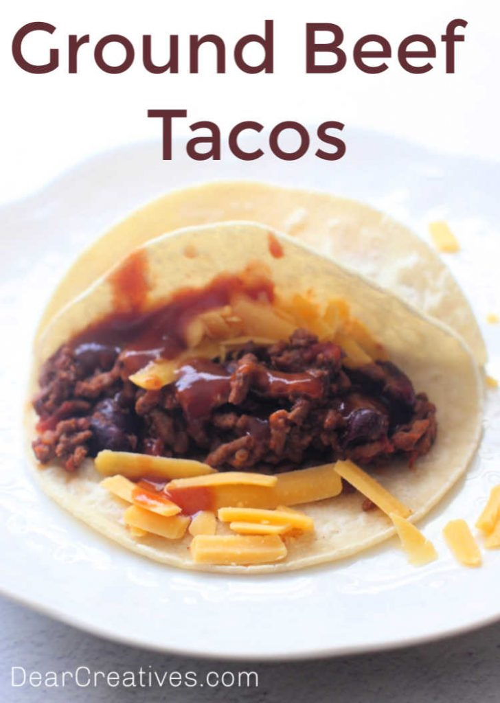 Ground Beef Tacos Recipe- with recipe variations at DearCreatives.com