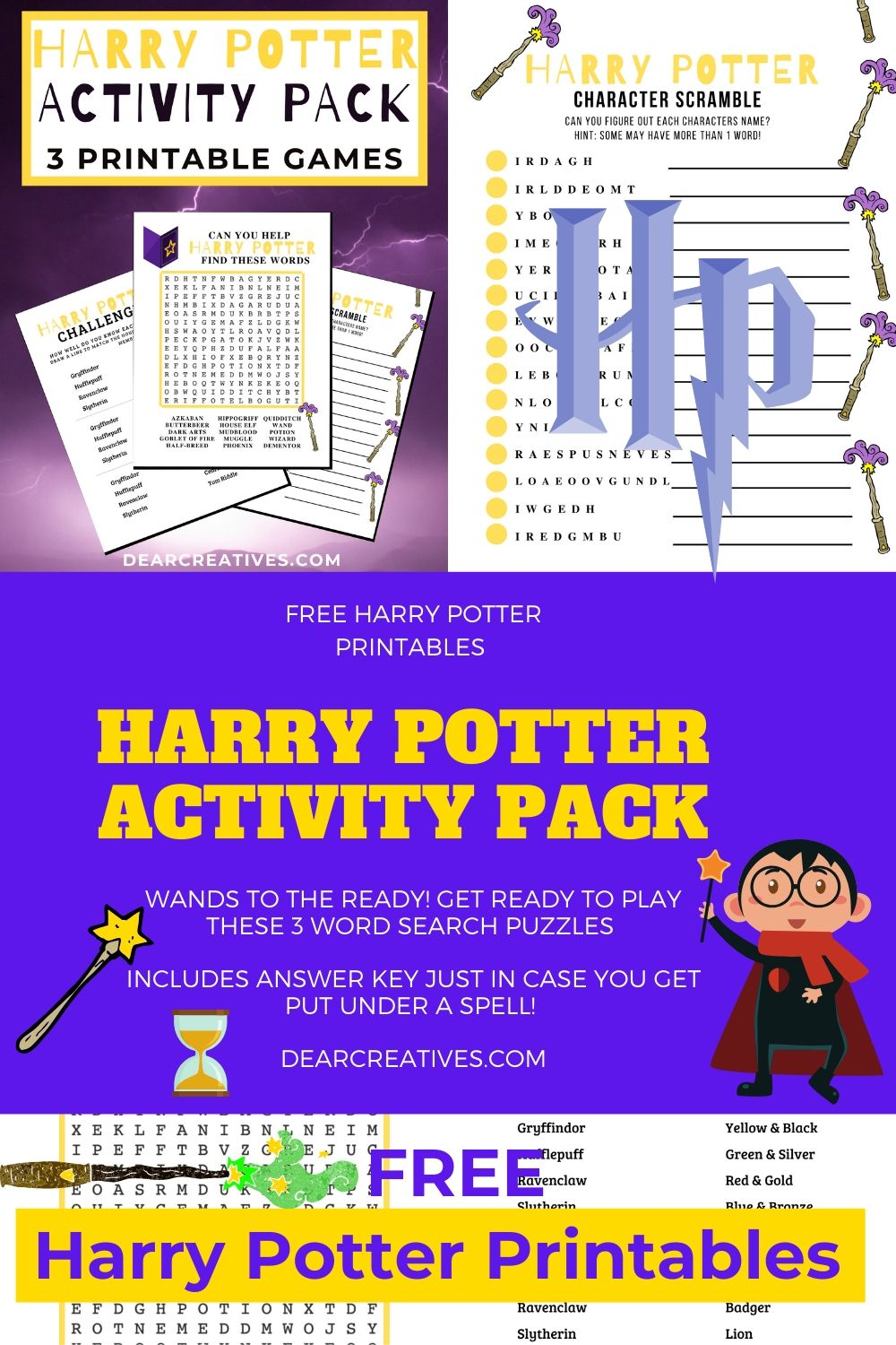 Harry Potter Printables - Harry Potter Word Search, Character Scramble and Harry Potter Knowledge Challenge - DearCreatives.com