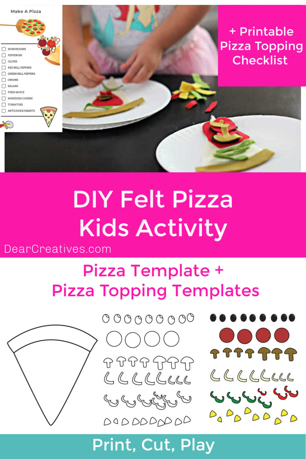 Felt Pizza Kids Activity + Free Printable Pizza Templates!