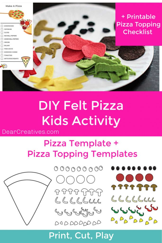 Make Play Pizza! Kids Activity - templates for pizza, pizza topping and pizza making checklist. Plus, full instructions. DearCreatives.com