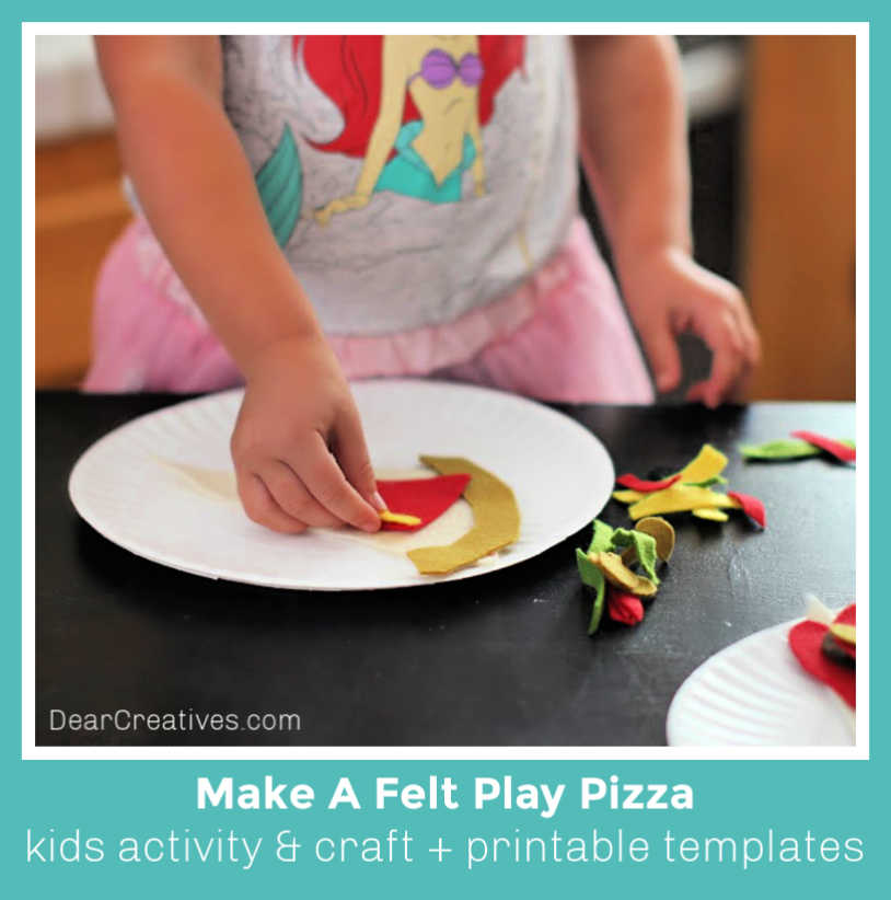 Make a felt play pizza - felt craft for kids and kids activity - templates included-DearCreatives.com