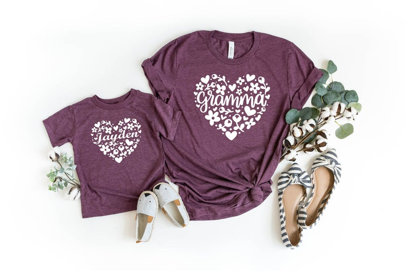 grandma and me bestie tee shirts - customizable t-shirts with pretty designs