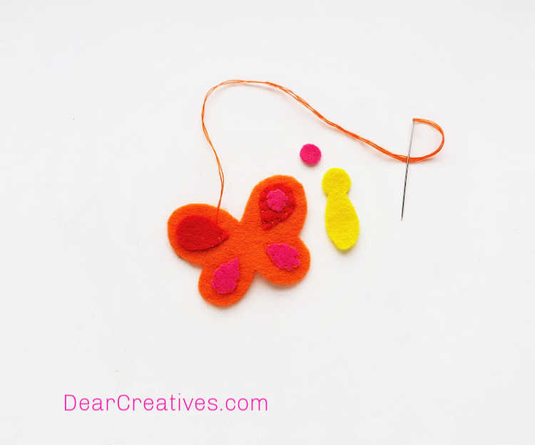 Butterfly Craft - Pencil Topper - Felt Craft - Instructions step (2) prepare the needle and thread - full felt pattern and instructions at DearCreatives.com