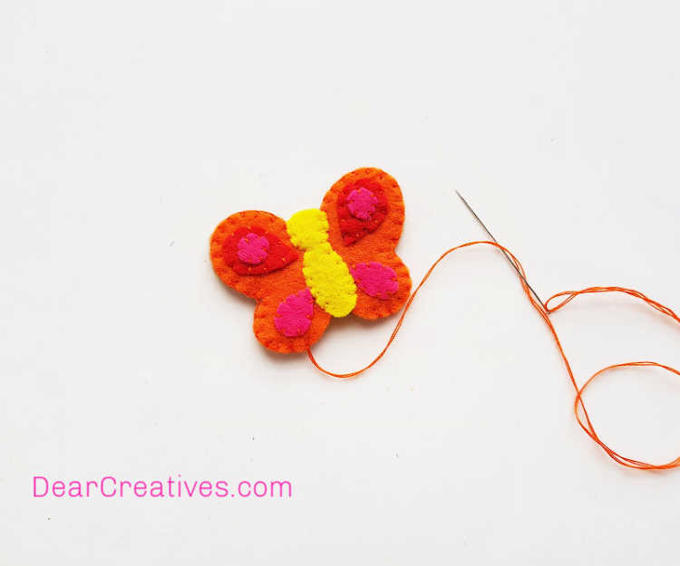 Butterfly Craft - Pencil Topper - Felt Craft - Instructions step (5) Start stitching from the bottom side of the pattern and stitch your way up. Butterfly template and DIY butterfly pencil topper at DearCreatives.jpg