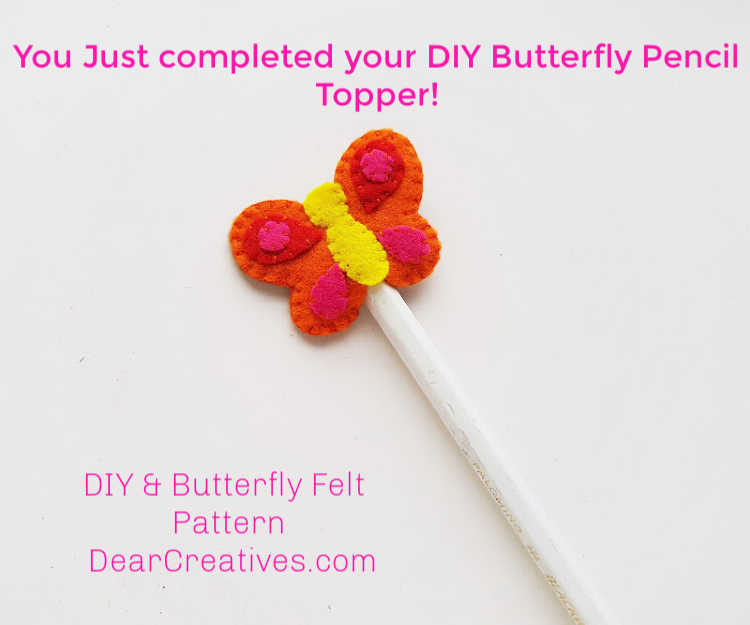 Butterfly Craft - Pencil Topper - Felt Craft - Instructions step (7) Placing the pencil topper onto the pencil. DearCreatives.com