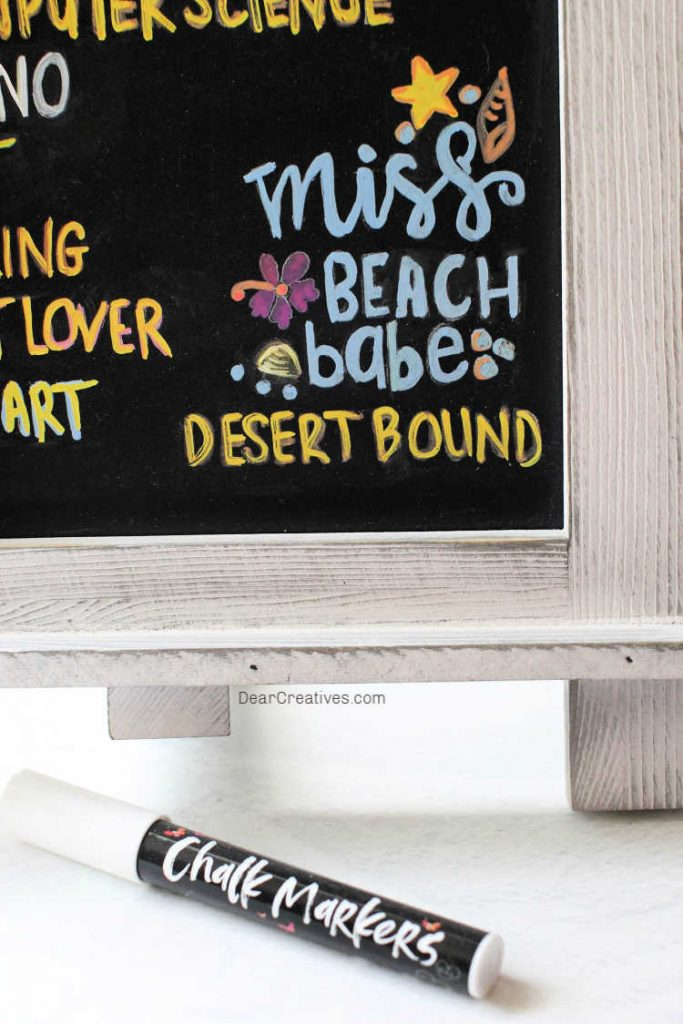 Close up of the chalkboard art and a chalk pen. DIY and instructions at DearCreatives.com