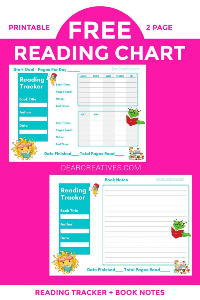 Printables For Kids - READING CHART - WITH PAGE FOR NOTES ABOUT BOOKS. Find printables and online editable PDF versions. FREE PRINTABLES - DEARCREATIVES.COM