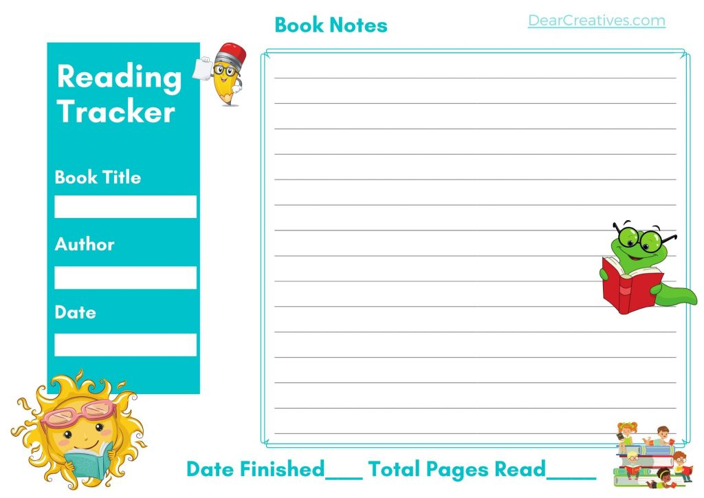 Reading Chart - 2 Pages With Time read, pages read and date book finished. Grab this printable chart at DearCreatives.com