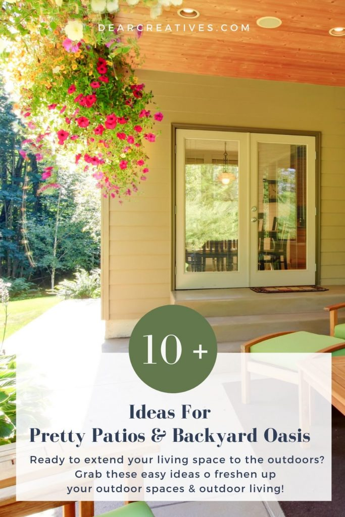 Wish List of Ideas for pretty patios and making a backyard oasis. DearCreatives.com