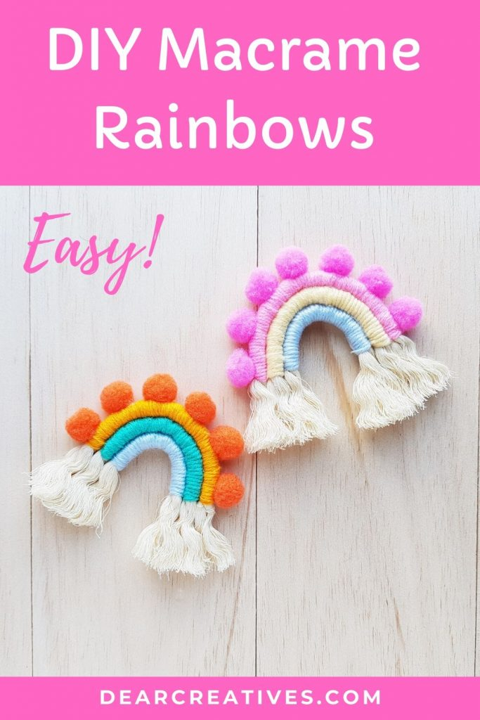 Easy! Beginner Craft - DIY Macrame Rainbows - Made with rope, yarn and optional pom poms. DearCreatives.com